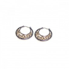 Wholesale Sterling Silver 925 Rhodium Plated Crescent CZ Filigree Hoop Earrings - STE00182