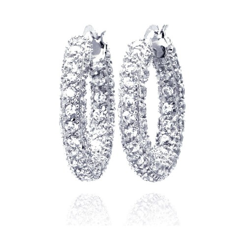 -Closeout- Wholesale Sterling Silver 925 Rhodium Plated Rift Cluster CZ Hoop Earrings - STE00206