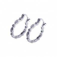 Wholesale Sterling Silver 925 Rhodium Plated Circle Marquis CZ Hoop Earrings - STE00222