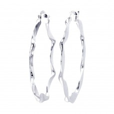 **Closeout** Wholesale Sterling Silver 925 Rhodium Plated Wavy Circle Hoop Earrings - STE00225