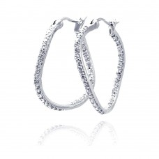 **Closeout** Wholesale Sterling Silver 925 Rhodium Plated CZ Curvy Oval Hoop Earrings - STE00246