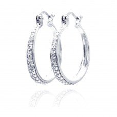 Wholesale Sterling Silver 925 Rhodium Plated CZ Hoop Earrings - STE00247