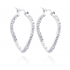 **Closeout** Wholesale Sterling Silver 925 Rhodium Plated CZ Wavy Hoop Earrings - STE00248