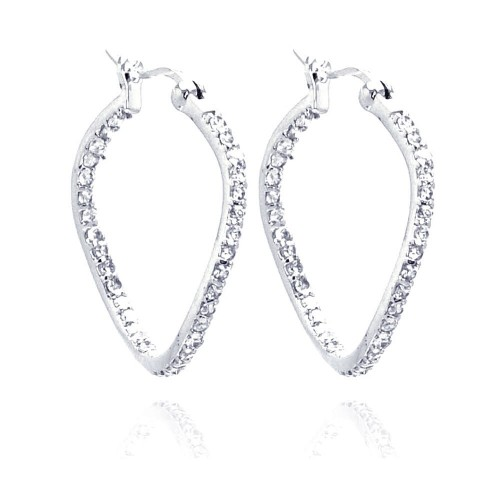 -Closeout- Wholesale Sterling Silver 925 Rhodium Plated CZ Wavy Hoop Earrings - STE00248