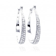 Wholesale Sterling Silver 925 Rhodium Plated Round CZ Hoop Earrings - STE00253
