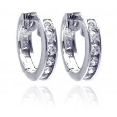 Wholesale Sterling Silver 925 Rhodium Plated Circle CZ Hoop Earrings - AAE00003-11MM