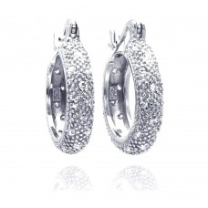 **Closeout** Wholesale Sterling Silver 925 Rhodium Plated Cluster CZ Thick Hoop Earrings - STE00285