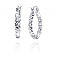 Wholesale Sterling Silver 925 Rhodium Plated Round CZ Huggie Earrings - STE00287