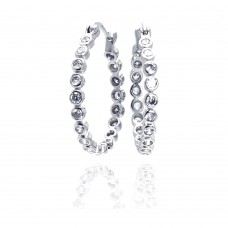 Wholesale Sterling Silver 925 Rhodium Plated Round CZ Hoop Earrings - STE00295