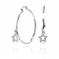 **Closeout** Wholesale Sterling Silver 925 Rhodium Plated Dangling Star CZ Hoop Earrings - STE00305