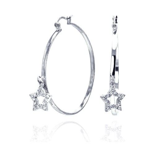 -Closeout- Wholesale Sterling Silver 925 Rhodium Plated Dangling Star CZ Hoop Earrings - STE00305