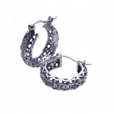 Wholesale Sterling Silver 925 Rhodium Plated CZ Hoop Earrings - STE00306
