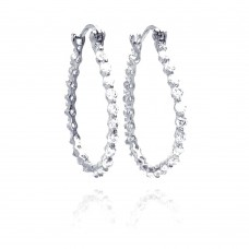 **Closeout** Wholesale Sterling Silver 925 Rhodium Plated Round CZ Round Hoop Earrings - STE00307
