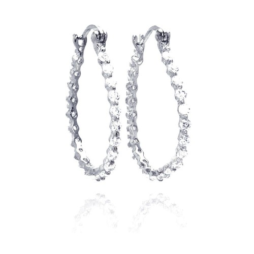-Closeout- Wholesale Sterling Silver 925 Rhodium Plated Round CZ Round Hoop Earrings - STE00307
