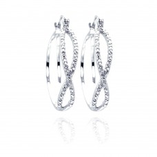 Wholesale Sterling Silver 925 Rhodium Plated Number Eighth CZ Hoop Earrings - STE00439