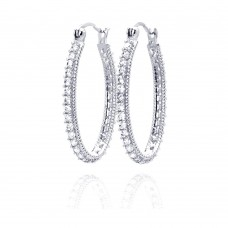Wholesale Sterling Silver 925 Rhodium Plated Round CZ Hoop Earrings - STE00452