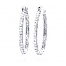 Wholesale Sterling Silver 925 Rhodium Plated Round CZ Hoop Earrings - STE00453