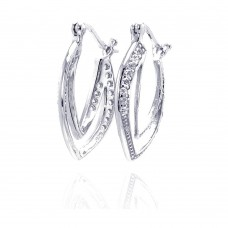 **Closeout** Wholesale Sterling Silver 925 Rhodium Plated CZ Curvy Marquis Open Hoop Earrings - STE00460