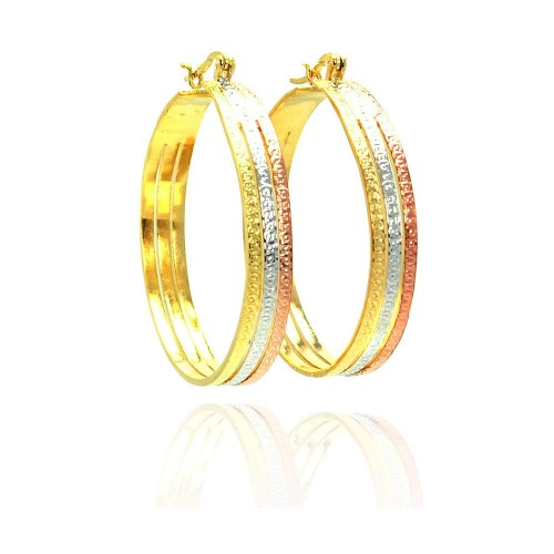 Wholesale Sterling Silver 925 Gold and Silver and Bronze Rhodium Plated CZ Hoop Earrings - STE00463