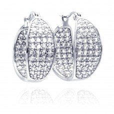 Wholesale Sterling Silver 925 Rhodium Plated Thick Round Pave Cluster CZ Hoop Earrings - STE00508