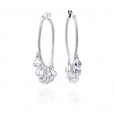 **Closeout** Wholesale Sterling Silver 925 Rhodium Plated Round Multiple CZ Dangling Hoop Earrings - STE00545
