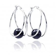 **Closeout** Wholesale Sterling Silver 925 Rhodium Plated Round CZ Hoop Earrings - STE00546