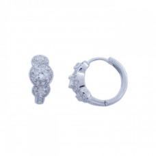 Wholesale Sterling Silver 925 Rhodium Plated Three Round CZ Hoop Earrings - STE00564