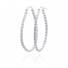 **Closeout** Wholesale Sterling Silver 925 Rhodium Plated Round CZ Hoop Earrings - STE00565CLR