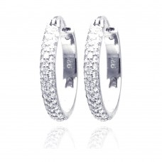 Wholesale Sterling Silver 925 Rhodium Plated Round CZ Hoop Earrings - STE00586