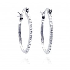 Wholesale Sterling Silver 925 Rhodium Plated Round CZ Hoop Earrings - STE00588