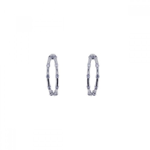 -Closeout- Wholesale Sterling Silver 925 Rhodium Plated Round CZ Hoop Earrings - STE00619