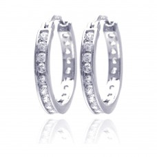 Wholesale Sterling Silver 925 Rhodium Plated Round Clear CZ Hoop Earrings - AAE00002-20mm