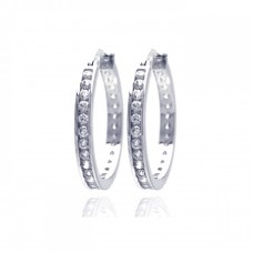 Wholesale Sterling Silver 925 Rhodium Plated Round Clear CZ Hoop Earrings - AAE00002-25MM