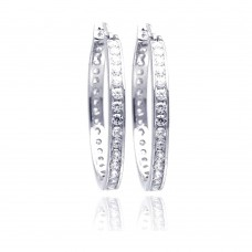 Wholesale Sterling Silver 925 Rhodium Plated Round Clear CZ Hoop Earrings - STE00675