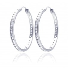 Wholesale Sterling Silver 925 Rhodium Plated Round Clear CZ Hoop Earrings - AAE00002-35MM
