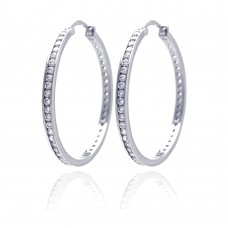 Wholesale Sterling Silver 925 Rhodium Plated Round Clear CZ Hoop Earrings - AAE00002-40MM