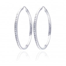 Wholesale Sterling Silver 925 Rhodium Plated Round Clear CZ Hoop Earrings - AAE00002-45MM