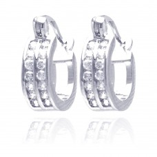 Wholesale Sterling Silver 925 Rhodium Plated Round Clear CZ Huggie Earrings - STE00681