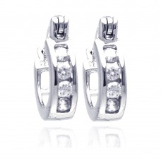 Wholesale Sterling Silver 925 Rhodium Plated Channel Clear CZ Huggie Earrings - AAE00009-8MM