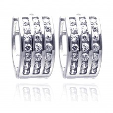 Wholesale Sterling Silver 925 Rhodium Plated Round Clear CZ Hoop Earrings - STE00684