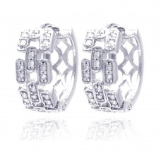 Wholesale Sterling Silver 925 Rhodium Plated Baguette Alternated Clear CZ Hoop Earrings - STE00686
