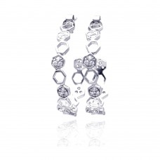 **Closeout** Wholesale Sterling Silver 925 Rhodium Plated Hexagon Clear CZ Round J Hook Stud Earrings - STE00704