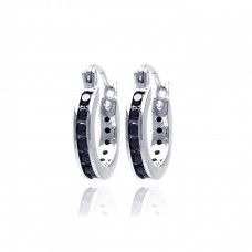 Wholesale Sterling Silver 925 Rhodium Plated Black CZ Hoop Earrings - STE00090-BLK