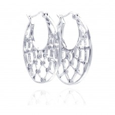 **Closeout** Wholesale Sterling Silver 925 Rhodium Plated Clear CZ Web Crescent Hoop Earrings - STE00519CLR