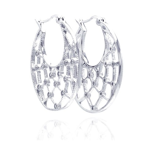 -Closeout- Wholesale Sterling Silver 925 Rhodium Plated Clear CZ Web Crescent Hoop Earrings - STE00519CLR