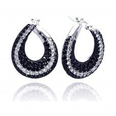 **Closeout** Wholesale Sterling Silver 925 Black and Silver Rhodium Plated Teardrop CZ Hoop Earrings - STE00556
