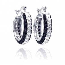 **Closeout** Wholesale Sterling Silver 925 Rhodium Plated Round Silver and Black CZ Hoop Earrings - STE00559
