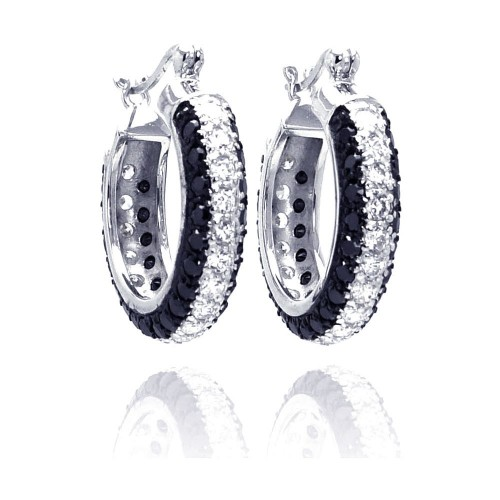 -Closeout- Wholesale Sterling Silver 925 Rhodium Plated Round Silver and Black CZ Hoop Earrings - STE00559