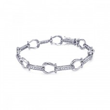 Sterling Silver Rhodium Plated Link Bracelet with CZ - BGB00004