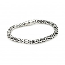 **Closeout** Sterling Silver Rhodium Plated Snake Skin Italian Bracelet - ITB00003RH